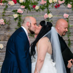 flower wall kiss, ceremony
