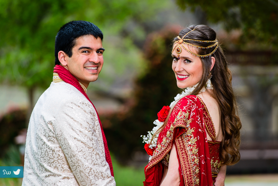 Bride and groom first look before Indian Hindu wedding ceremony at Lost Pines Resort