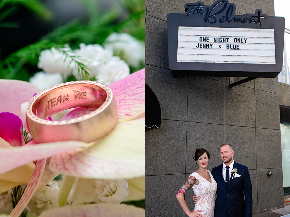 Portrait of bride and groom in front of The Belmont by austin wedding photographer