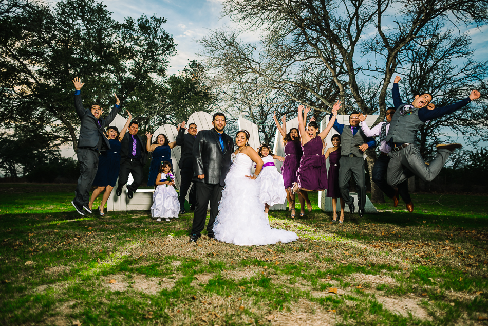 georgetown, texas at kindred oaks winter wedding fun bridal party portrait