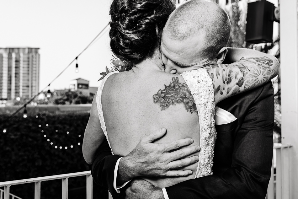fine art portrait of bride with tattoos during first look by austin wedding photographer