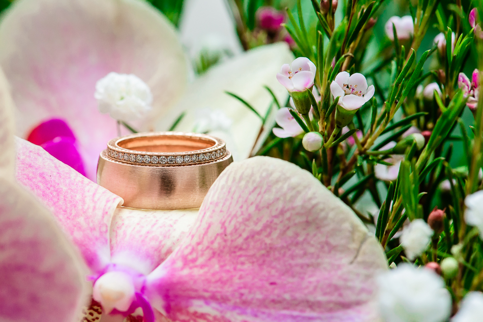 Detail shot of gold wedding rings with diamonds by austin wedding photography
