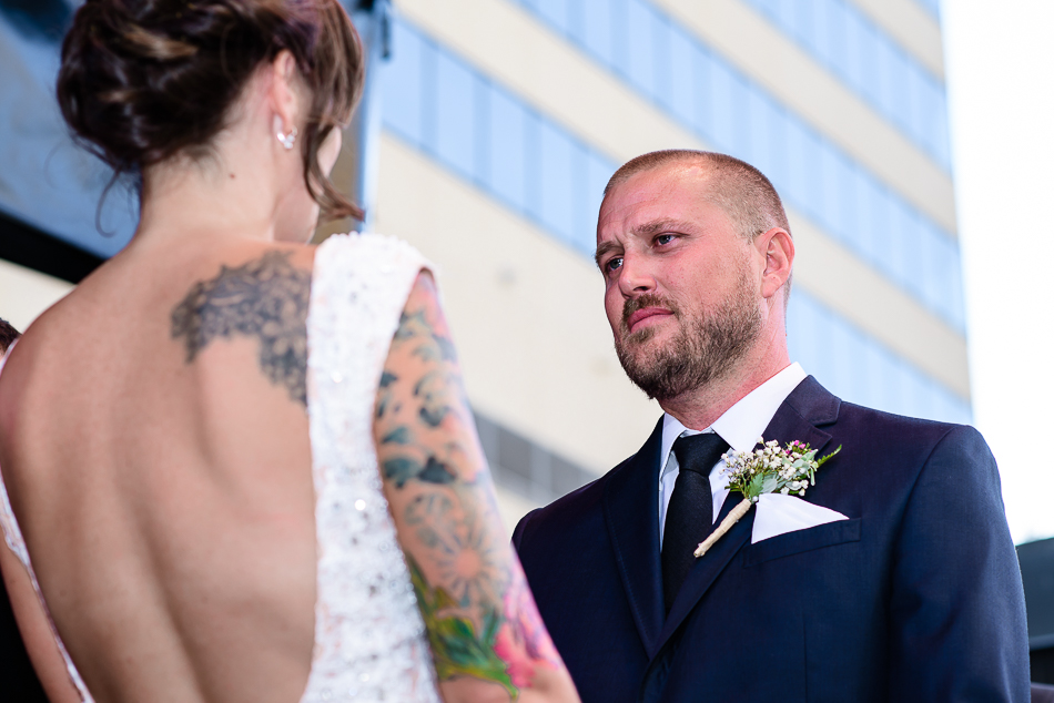 Urban ceremony in downtown austin, texas at the Belmont by wedding photographer
