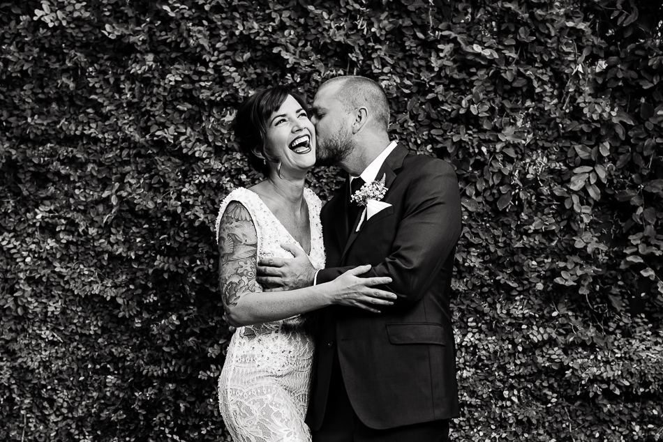 couple of portrait, bride with tattoos and groom at The Belmont by austin wedding photographer