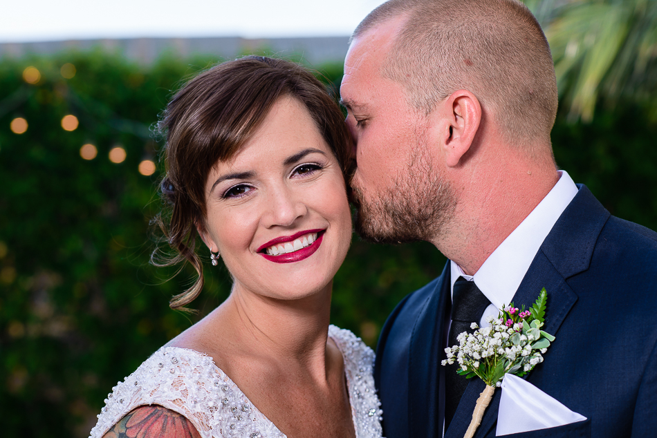 Austin wedding photographer portrait of bride and groom during outdoor reception