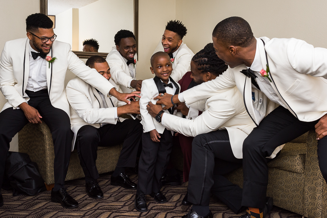 African American groomsmen getting ready, austin wedding photographers