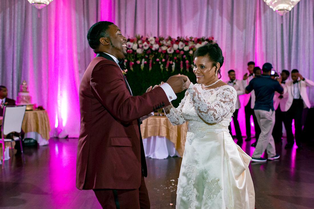 First dance with black bride and groom by austin wedding photographers