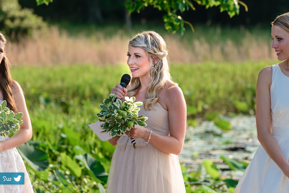 Austin Wedding Photographer capturing maid of honor reciting poem