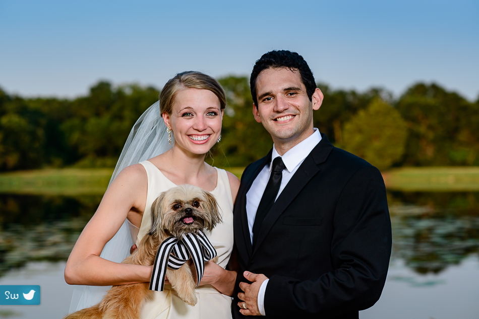 Austin Wedding Photographer portrait of bride and groom with Shih Tzu