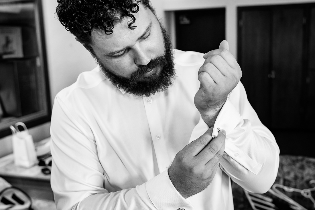 Austin-Wedding-Photographers-getting-ready-groom-black-white
