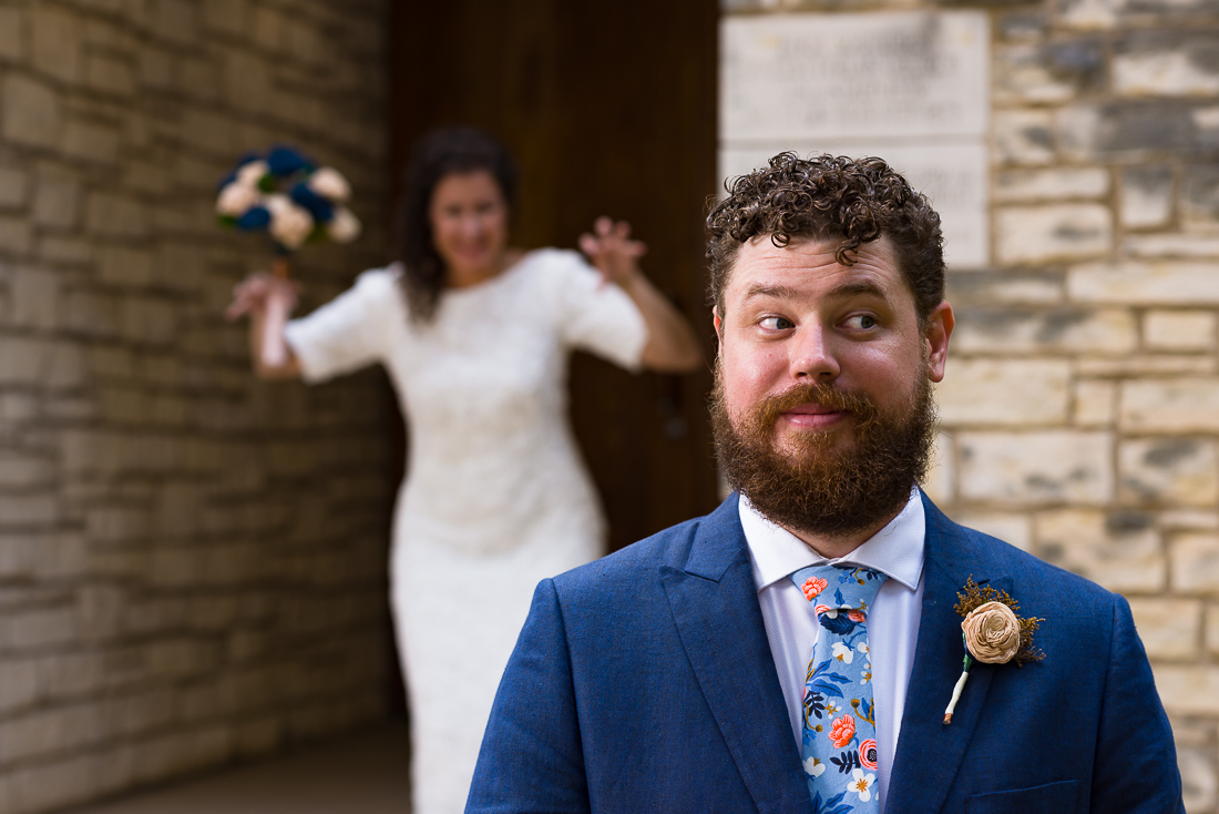 Austin-Wedding-Photographers-groom-first-look-surprise-funny-bride