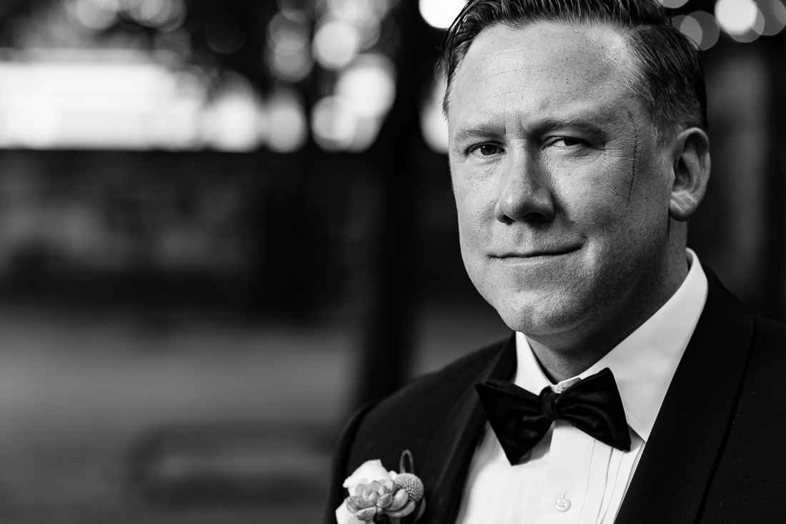 Fine art portrait of groom by austin wedding photographers at ZaZa Gardens, San Antonio, Texas