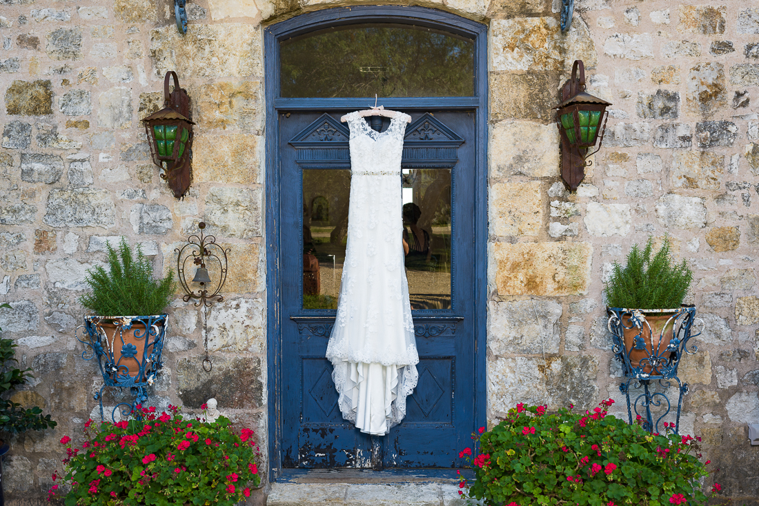 Wedding dress detail blue door le san michele austin wedding photographers