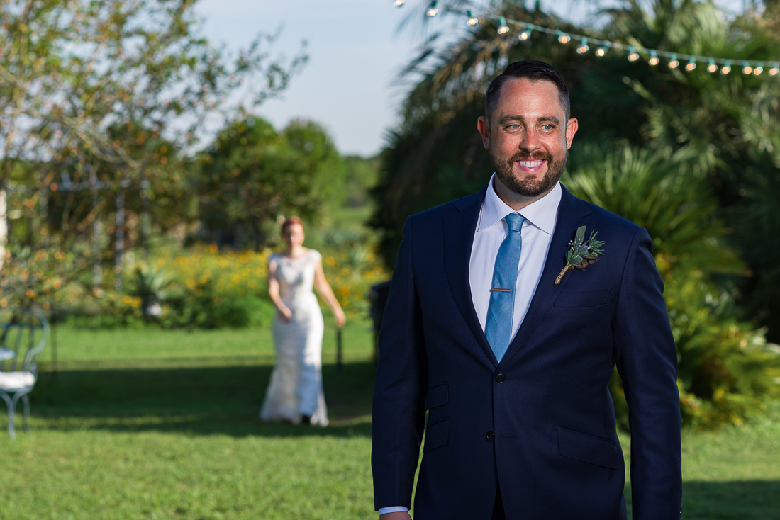 First look session by austin wedding photographers at Le San Michele venue outdoor