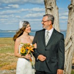 Lakefront wedding - father and bride family portrait