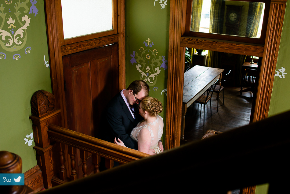 Portrait of bride and groom by Austin Wedding Photographer at Barr Mansion