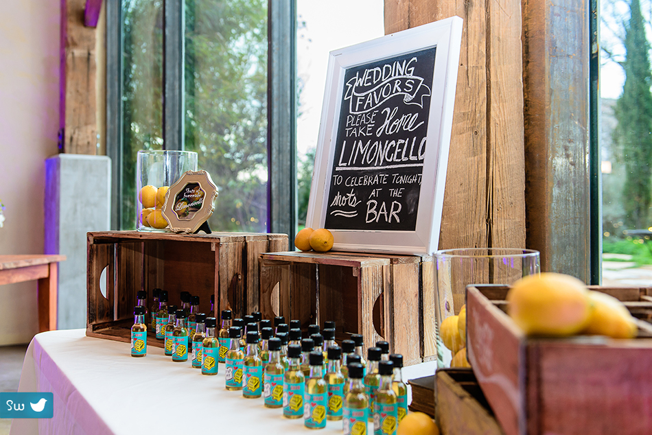 Limoncello favors by Austin Wedding Photographer at Barr Mansion