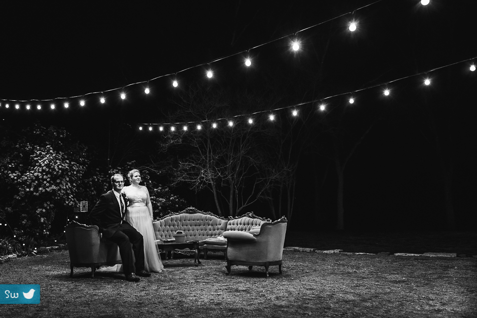 Night portrait of bride and groom by Austin Wedding Photographer at Barr Mansion