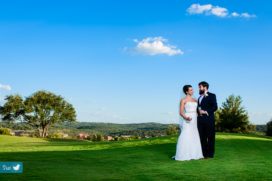 Portraits of the bride and groom at The UT Golf Club by Austin Wedding Photographer