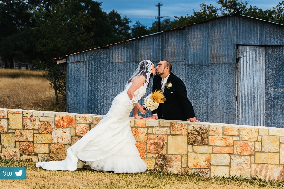 bride and groom portrait in austin texas, dramatic winter wedding