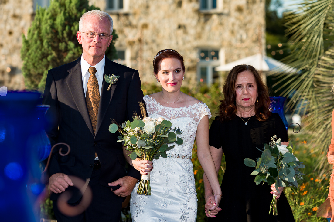 outdoor fall ceremony at Le San Michele by austin wedding photographers