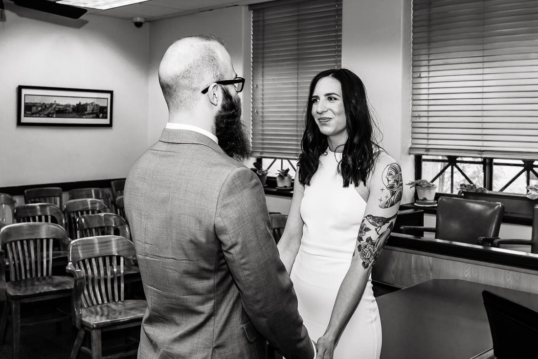 courthouse-ceremony-bride-tattooed-groom-Austin-wedding-photographers