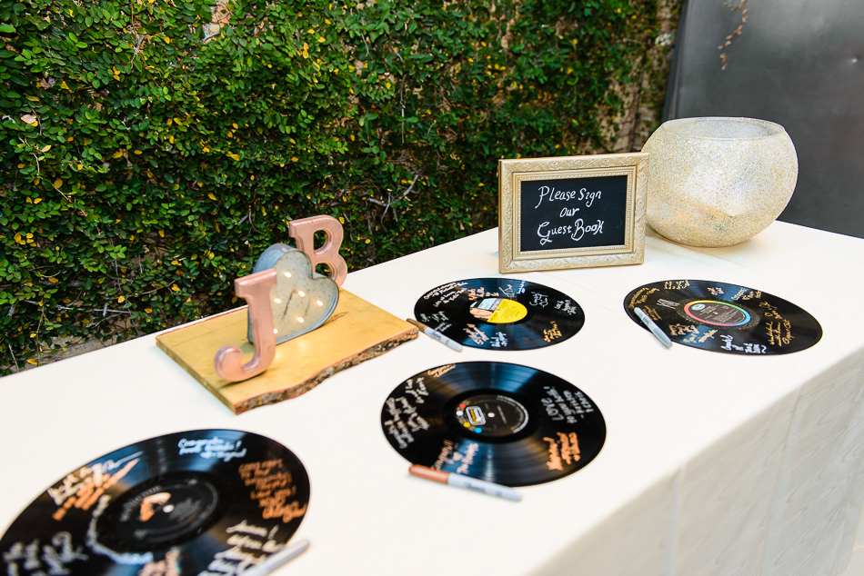 The Belmont wedding reception with guestbook of records from the bride and groom by austin photographer
