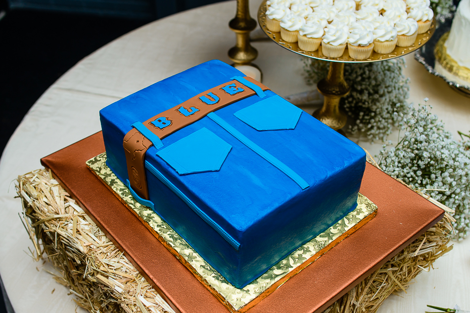 Classic Cakes by Lori, blue jean cake named after groom by austin wedding photography