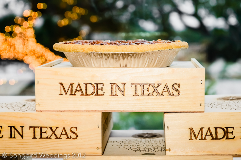 Pecan pies at wedding reception in dripping springs, texas