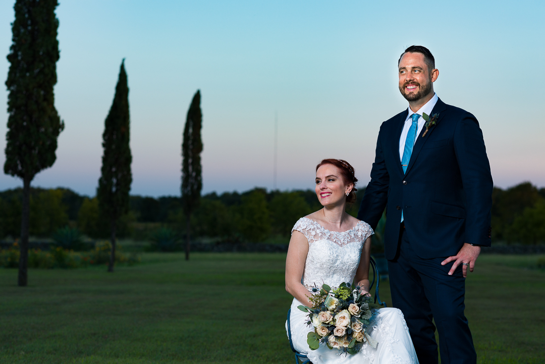 Sunset evening fine art portrait of bride groom Le San Michele austin wedding photographers