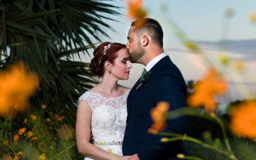 Austin wedding photographers fine art portrait outdoor flowers sunset Le San Michele