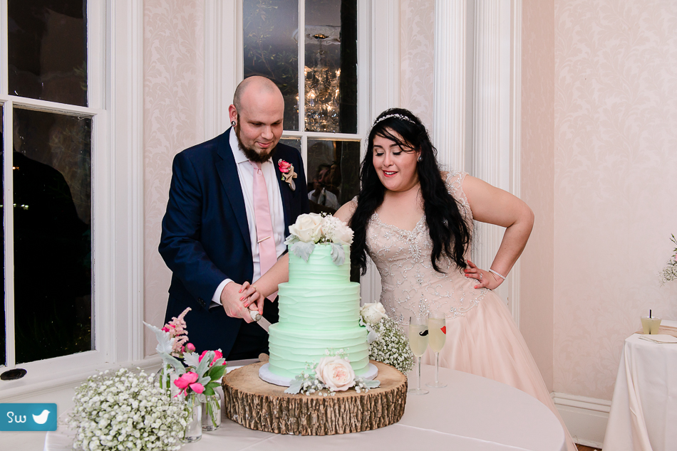 cutting cake with bride and groom