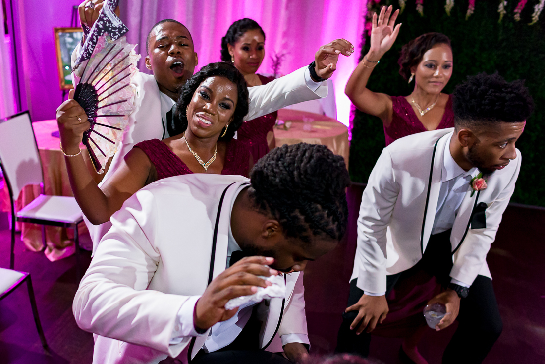 African American guests dancing during the reception by austin wedding photographers