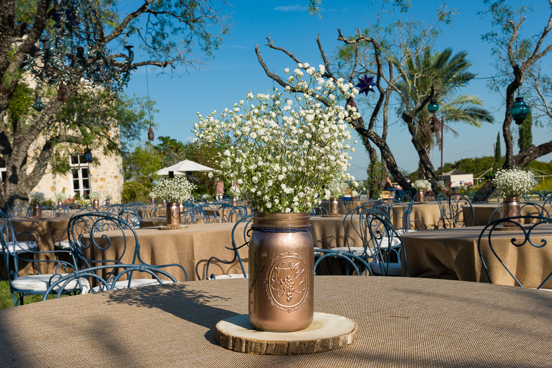 Gold painted mason jar baby breath austin wedding photographers Le San Michele