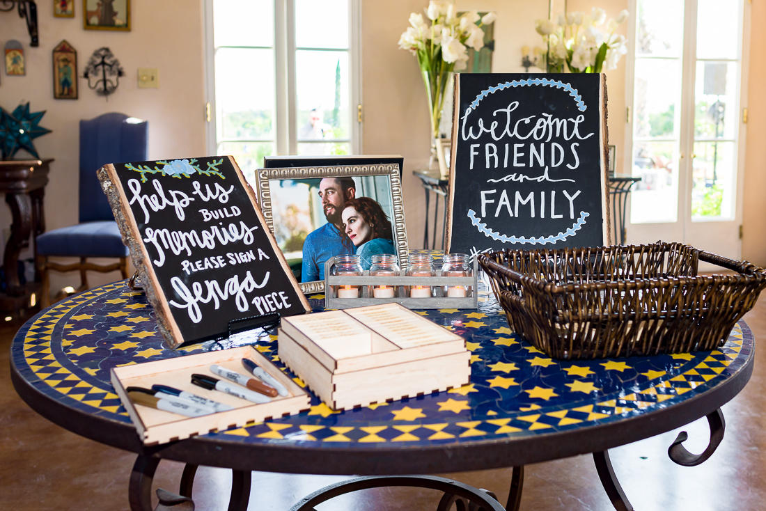 Austin wedding photographers Jenga puzzle reception signs Le San Michele