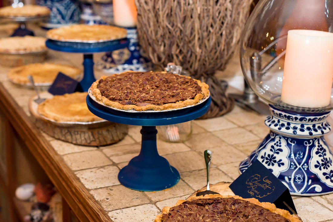 Dessert table pecan pies texas wedding austin photographers