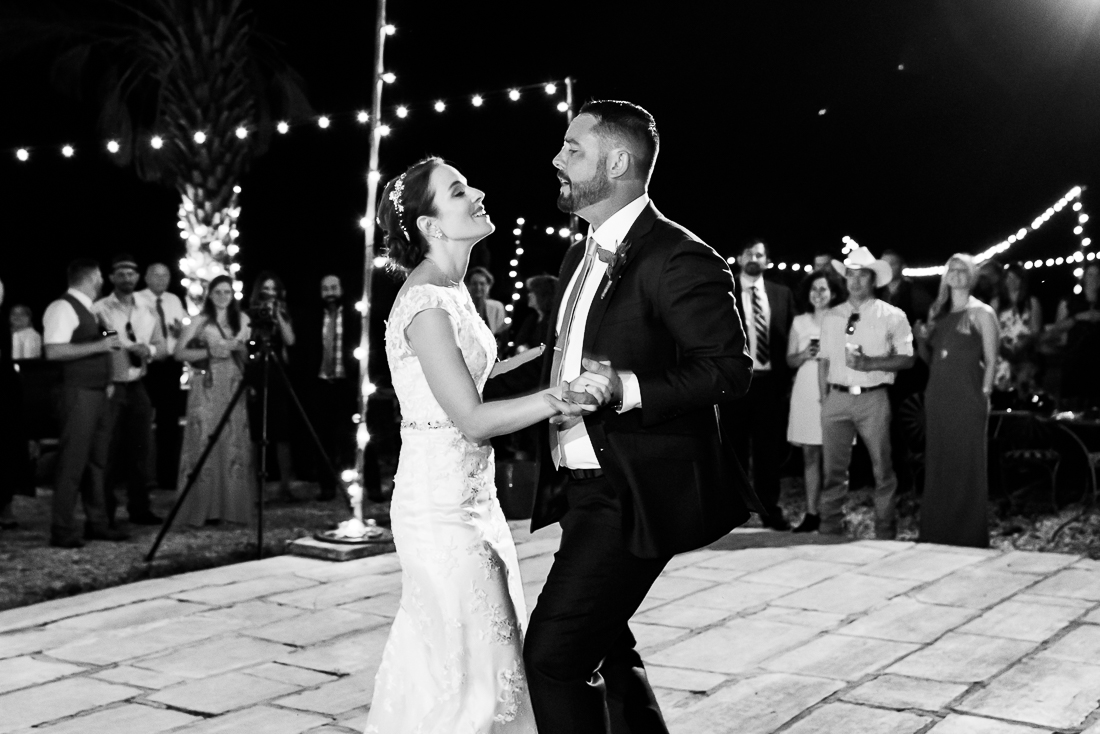 Le San Michele reception first dance floor night austin wedding photographers