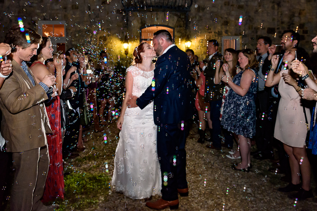 Bubble exit outdoor Le San Michele departure austin wedding photographers
