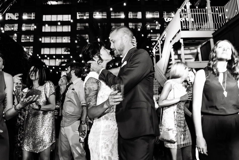Bride and groom during wedding reception by austin wedding photographer